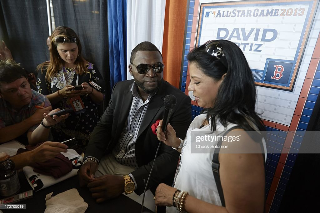Boston Red Sox David Ortiz during media interview on All Star Monday at Citi Field. Chuck Solomon F106 )