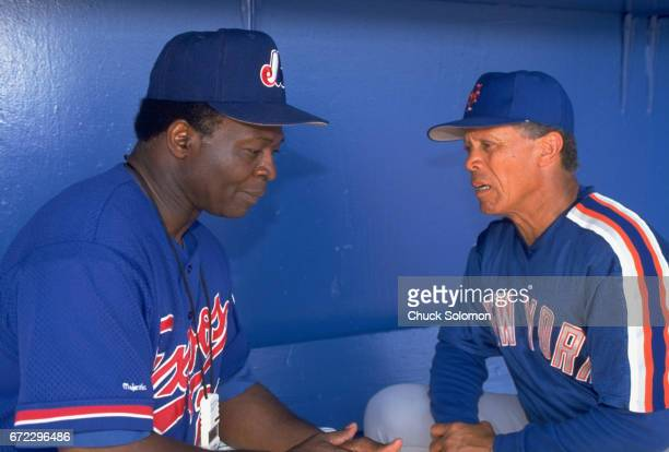New York Mets coach Maury Wills with Montreal Expos coach Lou Brock before spring training game vs Montreal Expos at Thomas J White Stadium Port St...