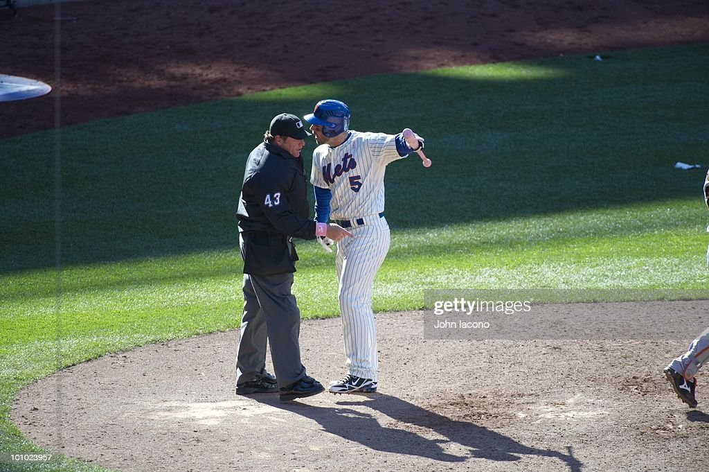 New York Mets David Wright (5) upset, arguing with home plate umpire Paul Schrieber (43) during game vs San Francisco Giants. Flushing, NY 5/9/2010