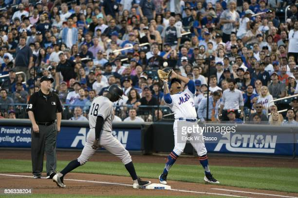 New York Mets Dominic Smith in action making catch vs New York Yankees at Citi Field Flushing NY CREDIT Erick W Rasco