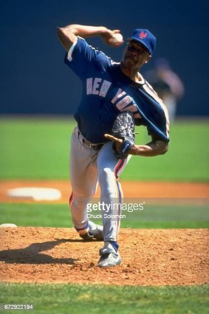 New York Mets Dwight Gooden in action pitching during spring training game vs Montreal Expos at Thomas J White Stadium Port St Lucie FL CREDIT Chuck...