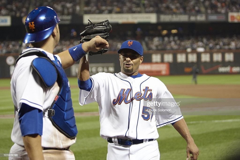 New York Mets Johan Santana (57) victorious with Rod Barajas (21) during game vs New York Yankees. Flushing, NY 5/23/2010