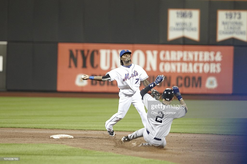 New York Mets Jose Reyes (7) in action vs New York Yankees Derek Jeter (2). Flushing, NY 5/23/2010