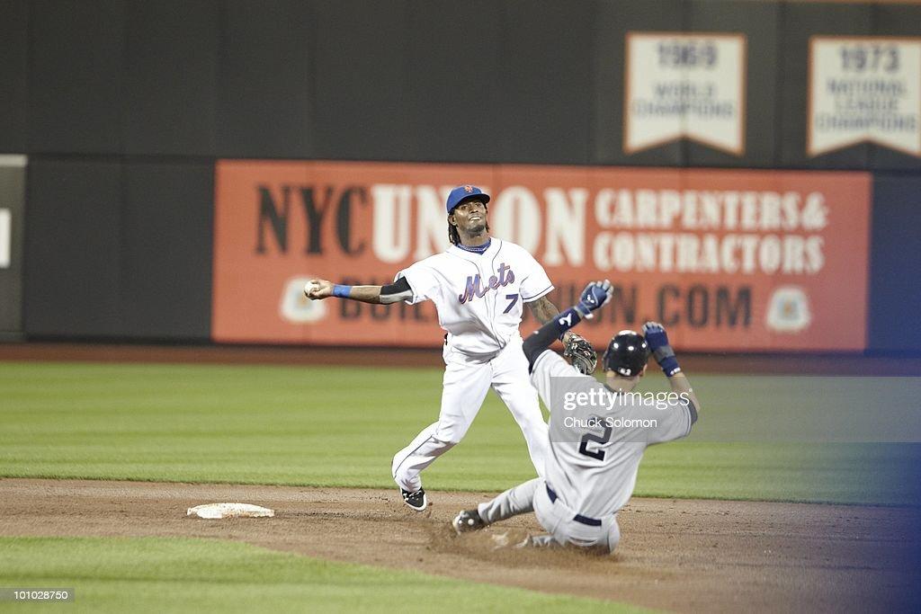 New York Mets Jose Reyes (7) in action vs New York Yankees Derek Jeter (2). Flushing, NY 5/23/2010