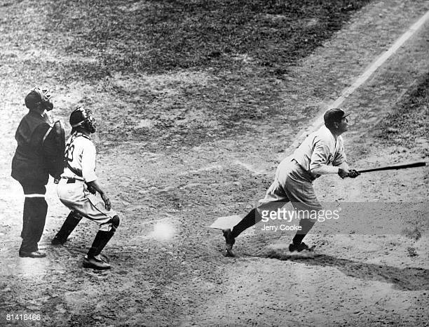 Baseball New York Yankees Babe Ruth in action at bat during game