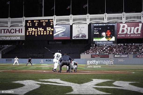 Baseball New York Yankees Bernie Williams in action at bat vs Baltimore Orioles View of Yankee Stadium Bronx NY 6/29/1996