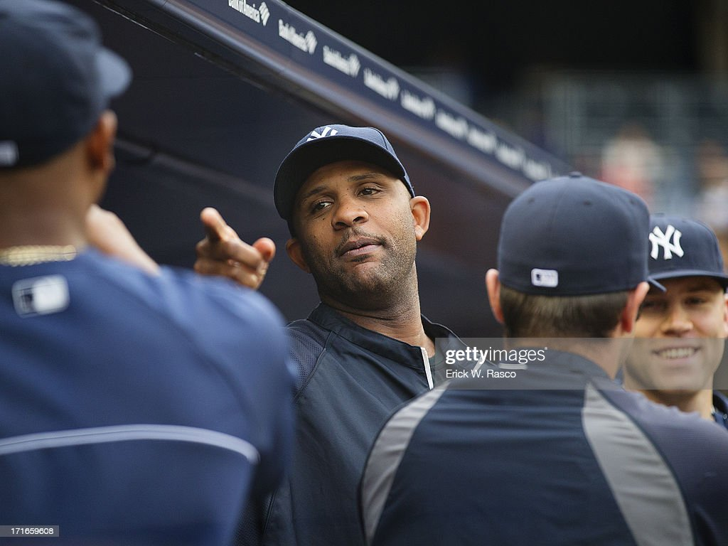 New York Yankees CC Sabathia (52) from dugout during game vs Texas Rangers at Yankee Stadium. Erick W. Rasco TK1 )