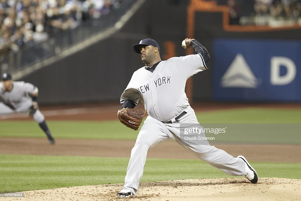 New York Yankees CC Sabathia (52) in action, pitching vs New York Mets. Flushing, NY 5/23/2010
