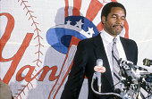New York Yankees Dave Winfield after signing a free agent contract with the Yankees during introductory press conference at Yankee Stadium Bronx NY...