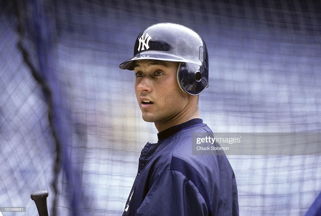 New York Yankees Derek Jeter (2) before game vs Texas Rangers. Bronx, NY 4/14/1996
