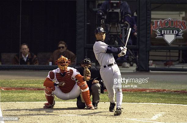 New York Yankees Derek Jeter in action at bat vs Cleveland Indians during opening day Cleveland OH 4/2/1996 CREDIT David Liam Kyle