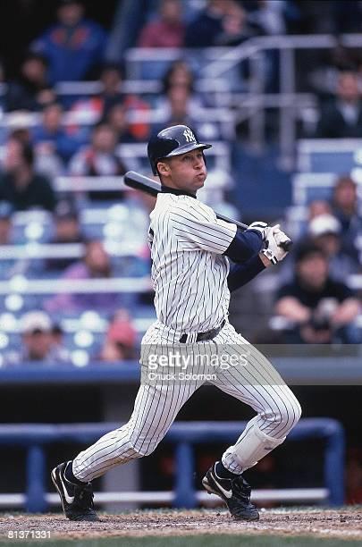 Baseball New York Yankees Derek Jeter in action vs Texas Rangers Bronx NY 4/14/1996