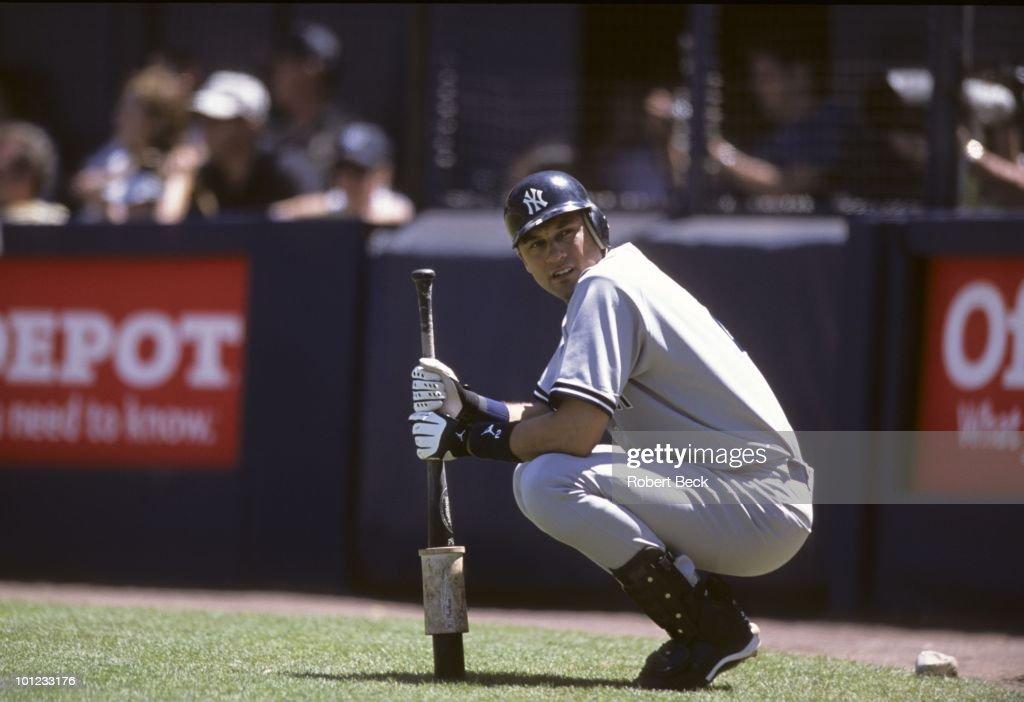New York Yankees Derek Jeter (2) on deck during game vs San Diego Padres. San Diego, CA 6/23/2002