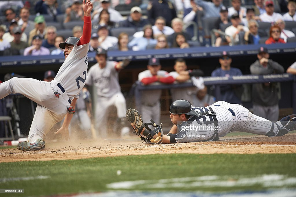 New York Yankees Francisco Cervelli (29) in action, making tag at home plate vs Boston Red Sox Jacoby Ellsbury (2) at Yankee Stadium. Al Tielemans F61 )