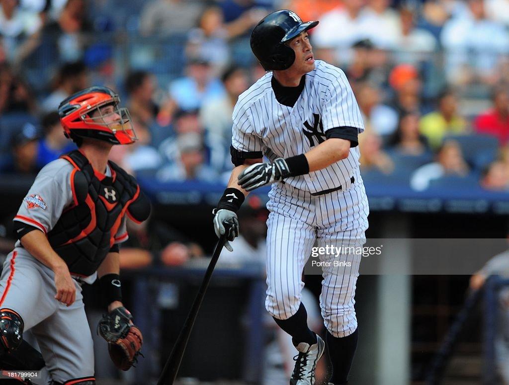 New York Yankees Ichiro Suzuki (31) in action, at bat vs San Francisco Giants at Yankee Stadium. Porter Binks F65 )
