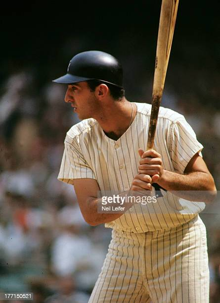 New York Yankees Joe Pepitone in action at bat vs Kansas City Athletics at Yankee Stadium Bronx NY CREDIT Neil Leifer
