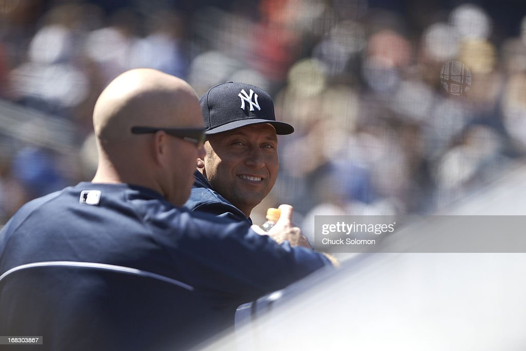 New York Yankees manager Derek Jeter (2) in dugout during game vs Oakland Athletics at Yankee Stadium. Chuck Solomon F9 )