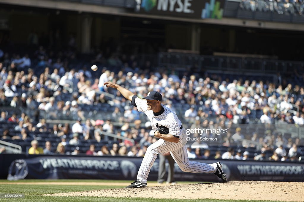 New York Yankees Mariano Rivera (42) in action, pitching vs Oakland Athletics at Yankee Stadium. Chuck Solomon F134 )