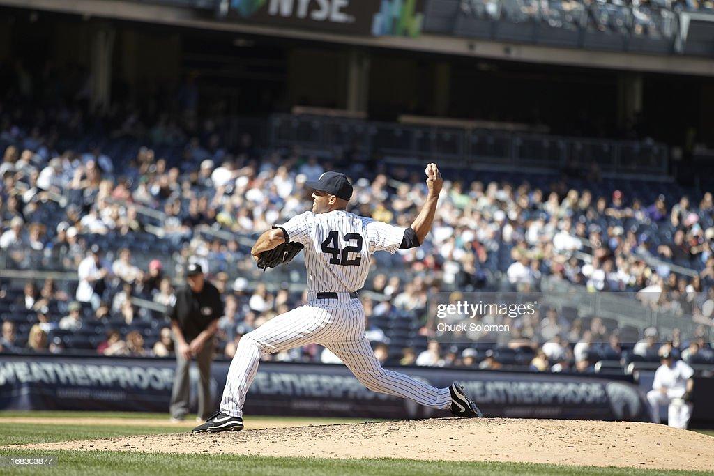New York Yankees Mariano Rivera (42) in action, pitching vs Oakland Athletics at Yankee Stadium. Chuck Solomon F114 )