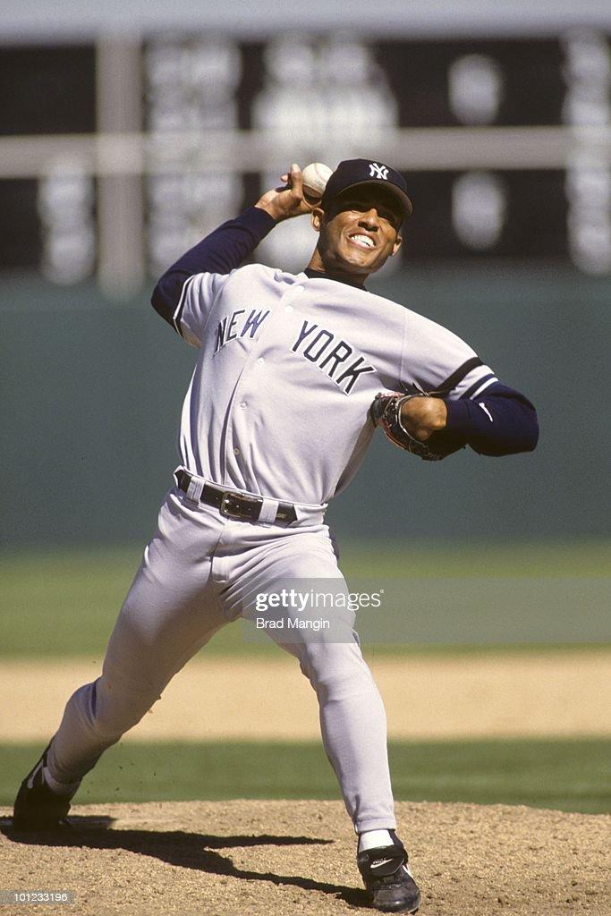 New York Yankees Mariano Rivera (42) in action, pitching vs Oakland Athletics. Oakland, CA 9/2/1996