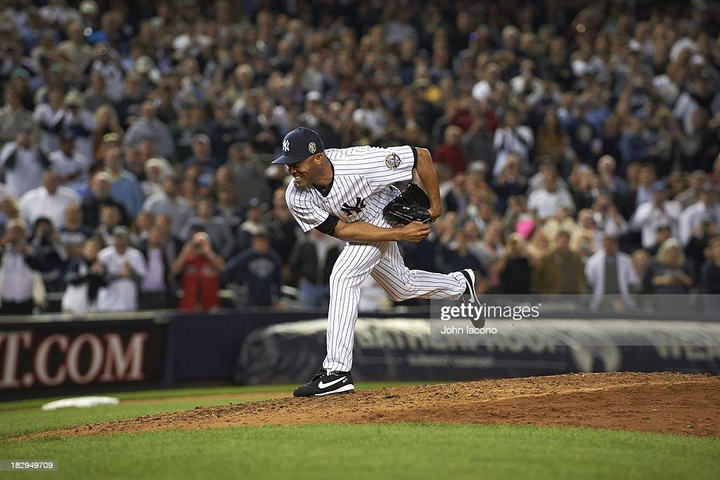New York Yankees Mariano Rivera (42) in action, pitching vs Tampa Bay Rays at Yankee Stadium. Final home game of Rivera's career. John Iacono F15 )