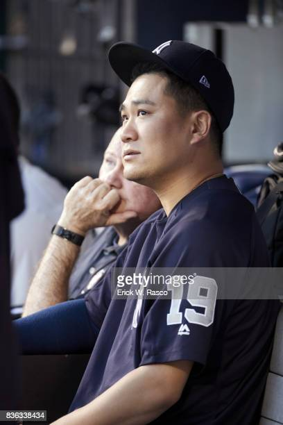 New York Yankees Masahiro Tanaka in dugout during game vs New York Mets at Citi Field Flushing NY CREDIT Erick W Rasco