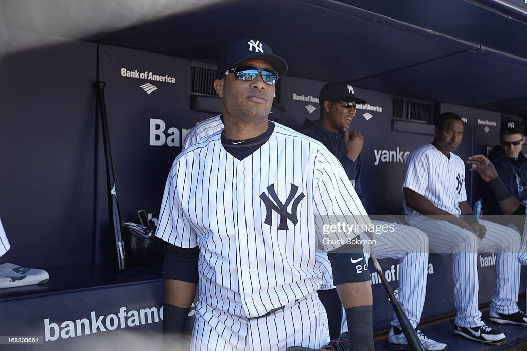 New York Yankees Robinson Cano (24) in dugout during game vs Oakland Athletics at Yankee Stadium. Chuck Solomon F24 )
