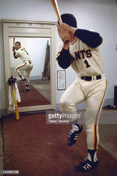 Nippon Professional Baseball Tokyo Giants Sadaharu Oh practicing swing in front of mirror at Korakuen Stadium Tokyo Japan 6/4/1977 CREDIT Takeo Tanuma