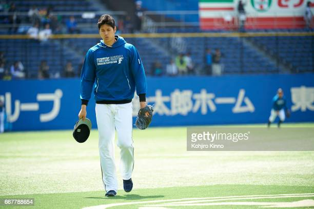 NipponHam Fighters Shohei Ohtani on field before game vs Chiba Lotte Marines at Chiba Marine Stadium Otani is the reigning league MVP excelling as...
