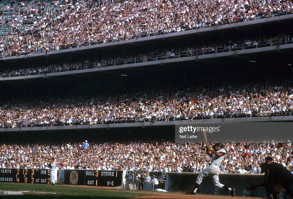 NL Pennant TieBreaker San Francisco Giants Willie Mays in action at bat and hitting bases loaded single vs Los Angeles Dodgers during 9th inning at...