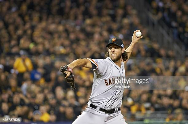 NL Wild Card Game San Francisco Giants Madison Bumgarner in action pitching vs Pittsburgh Pirates at PNC Park Pittsburgh PA CREDIT Fred Vuich