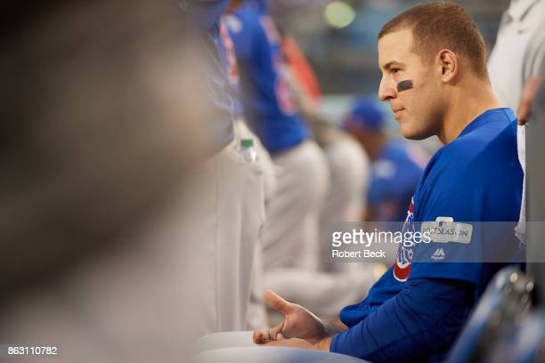NLCS Playoffs Chicago Cubs Anthony Rizzo in dugout during game vs Los Angeles Dodgers at Dodger Stadium Game 1 Los Angeles CA CREDIT Robert Beck