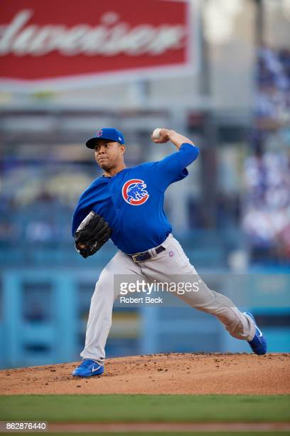 NLCS Playoffs Chicago Cubs Jose Quintana in action pitching vs Los Angeles Dodgers at Dodger Stadium Game 1 Los Angeles CA CREDIT Robert Beck