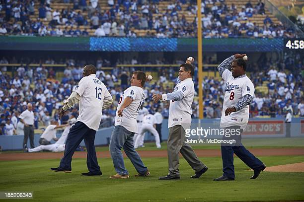NLCS Playoffs Former Los Angeles Dodgers Dusty Baker Ron Cey Steve Garvey and Reggie Smith throwing out ceremonial first pitch before game vs St...