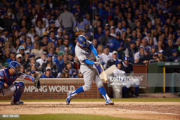 NLCS Playoffs Los Angeles Dodgers Chris Taylor in action at bat vs Chicago Cubs at Wrigley Field Game 3 Chicago IL CREDIT Jeff Haynes