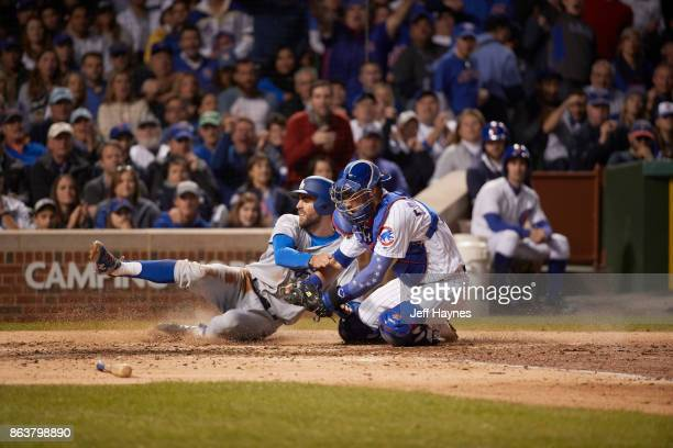 NLCS Playoffs Los Angeles Dodgers Chris Taylor in action scoring run vs Chicago Cubs Willson Contreras at Wrigley Field Game 3 Chicago IL CREDIT Jeff...
