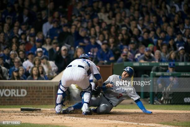 NLCS Playoffs Los Angeles Dodgers Chris Taylor in action scoring run Chicago Cubs Willson Contreras at Wrigley Field Game 5 Chicago IL CREDIT Jeff...
