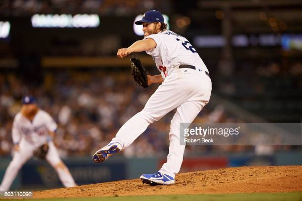 NLCS Playoffs Los Angeles Dodgers Clayton Kershaw in action pitching vs Chicago Cubs at Dodger Stadium Game 1 Los Angeles CA CREDIT Robert Beck