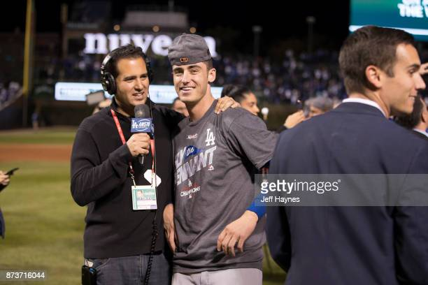 NLCS Playoffs Los Angeles Dodgers Cody Bellinger during interview on field after winning game and series vs Chicago Cubs at Wrigley Field Game 5...