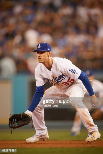 NLCS Playoffs Los Angeles Dodgers Cody Bellinger in action fielding vs Chicago Cubs at Dodger Stadium Game 1 Los Angeles CA CREDIT Robert Beck
