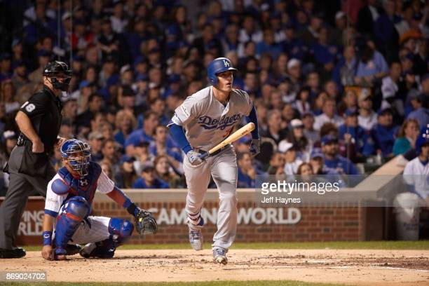 NLCS Playoffs Los Angeles Dodgers Cody Bellinger in action at bat hitting home run vs Chicago Cubs at Wrigley Field Game 4 Chicago IL CREDIT Jeff...