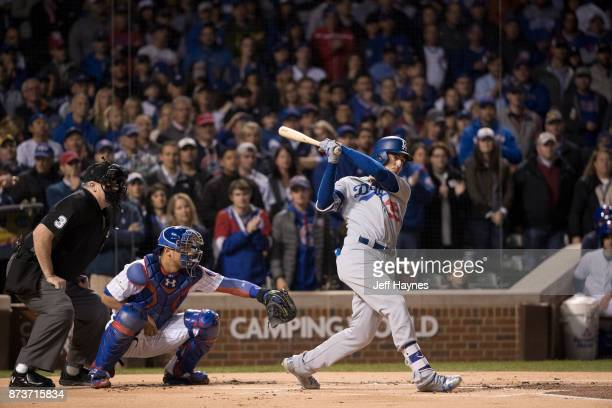 NLCS Playoffs Los Angeles Dodgers Cody Bellinger in action at bat vs Chicago Cubs at Wrigley Field Game 5 Chicago IL CREDIT Jeff Haynes