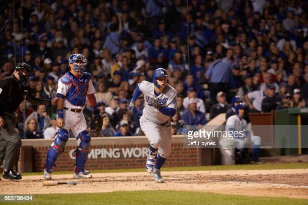 NLCS Playoffs Los Angeles Dodgers Joc Pederson in action running bases vs Chicago Cubs at Wrigley Field Game 3 Chicago IL CREDIT Jeff Haynes