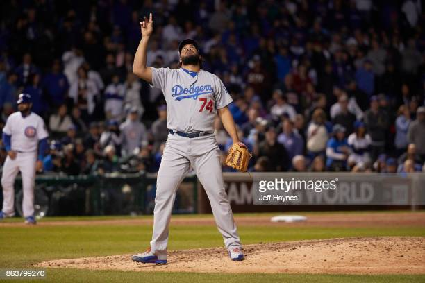 NLCS Playoffs Los Angeles Dodgers Kenley Jansen victorious during game vs Chicago Cubs at Wrigley Field Game 3 Chicago IL CREDIT Jeff Haynes
