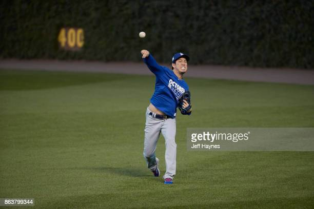 NLCS Playoffs Los Angeles Dodgers Kenta Maeda warming up before game vs Chicago Cubs at Wrigley Field Game 3 Chicago IL CREDIT Jeff Haynes