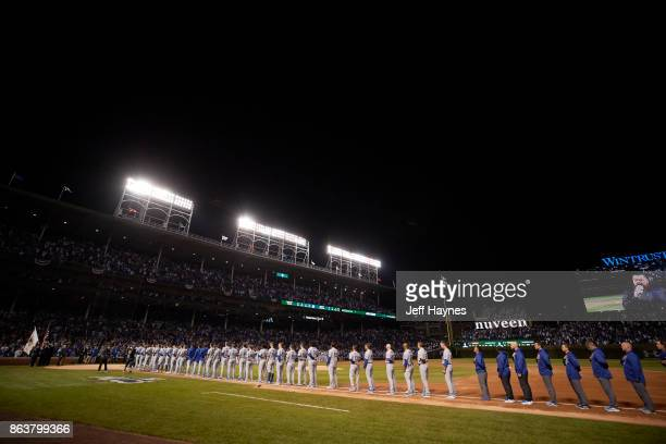 NLCS Playoffs Los Angeles Dodgers lined up during anthem before game vs Chicago Cubs at Wrigley Field Game 3 Chicago IL CREDIT Jeff Haynes