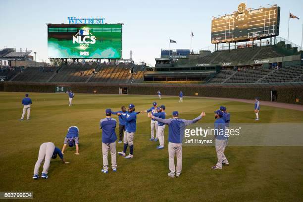 NLCS Playoffs Los Angeles Dodgers players warming up before game vs Chicago Cubs at Wrigley Field Game 3 Chicago IL CREDIT Jeff Haynes