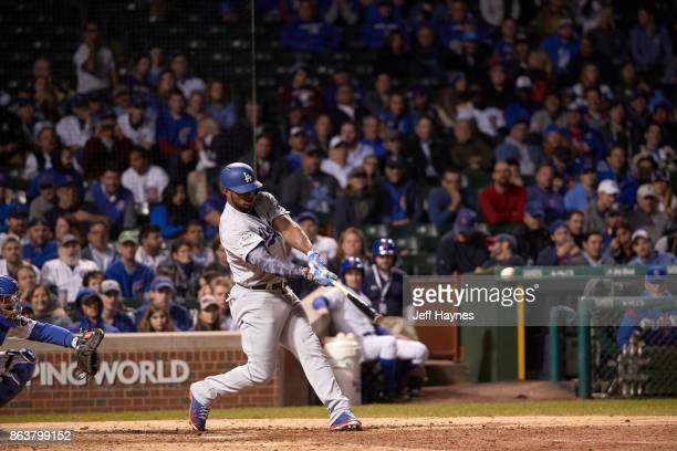 NLCS Playoffs Los Angeles Dodgers Yasiel Puig in action at bat vs Chicago Cubs at Wrigley Field Game 3 Chicago IL CREDIT Jeff Haynes