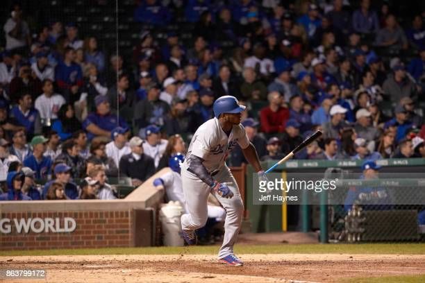 NLCS Playoffs Los Angeles Dodgers Yasiel Puig in action running bases vs Chicago Cubs at Wrigley Field Game 3 Chicago IL CREDIT Jeff Haynes