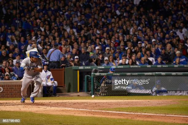 NLCS Playoffs Los Angeles Dodgers Yu Darvish in action bunting vs Chicago Cubs at Wrigley Field Game 3 Chicago IL CREDIT Jeff Haynes